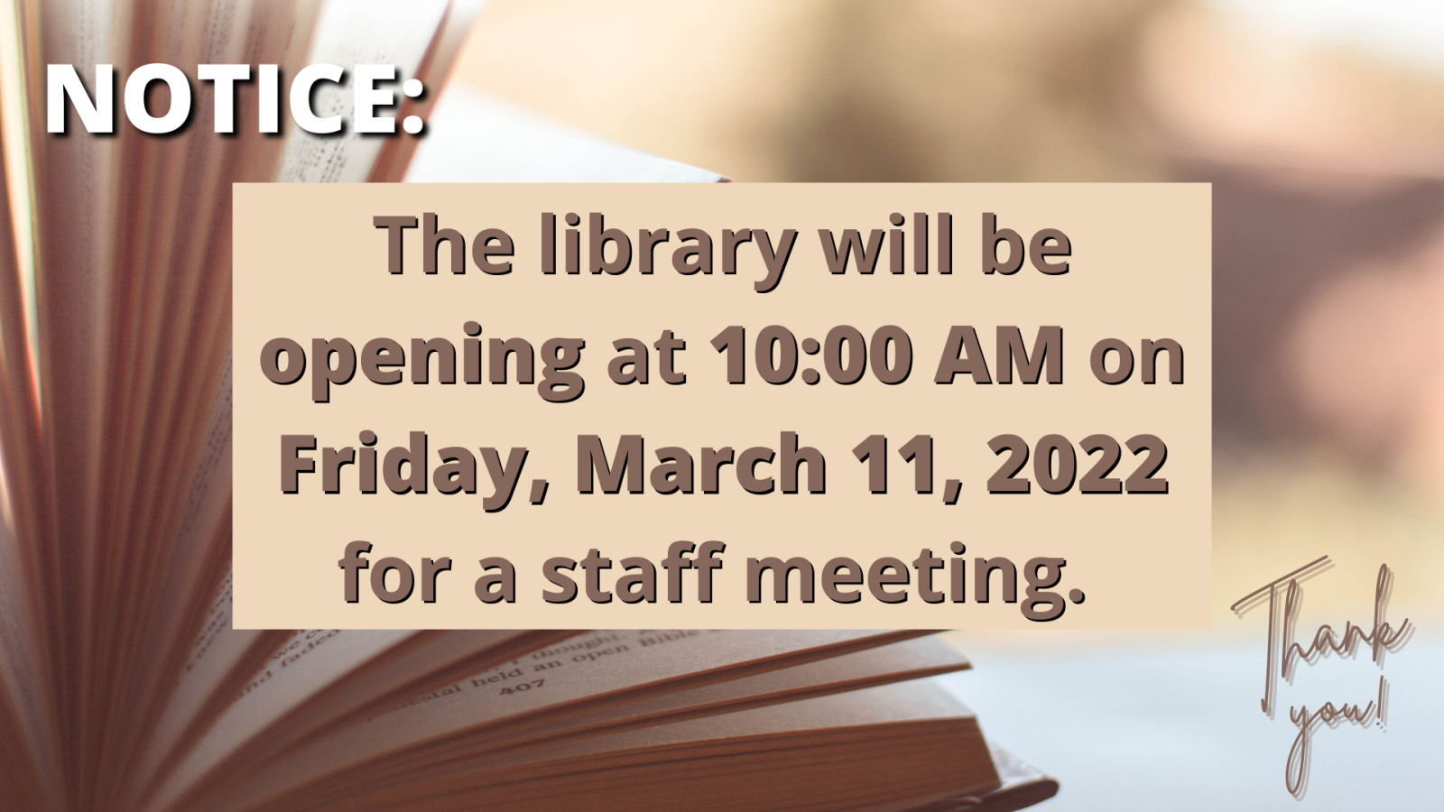The library will be closed on January 18th